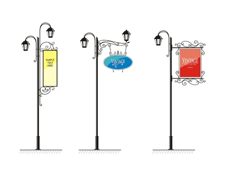 lampposts: wrought-iron street lamps with a sign for advertising, the vector