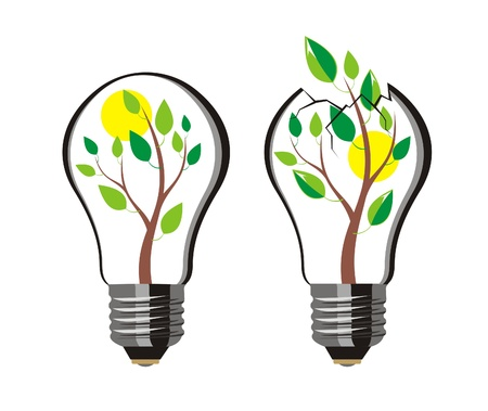 breakthrough: tree bursts out of the bulb, vector