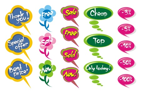 Different indication bubbles for retailers, the vector Vector