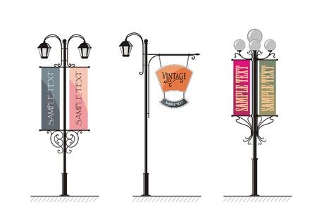 lampade in ferro battuto strada con un cartello per la pubblicità, il vettore Vettoriali
