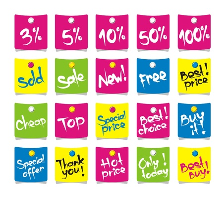 buy it: commercial tags with pins on white, vector Illustration