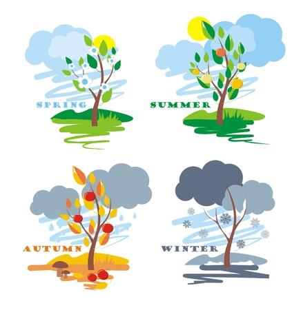 autumn scene: abstract of four seasons, vector