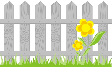 fence panel: wooden fence on white background, the vector Illustration