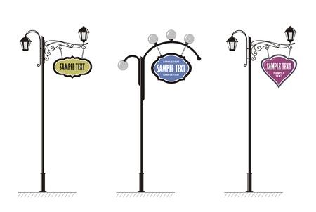 lampioni in ferro battuto in con un segno per la pubblicità, il vettore  Vettoriali
