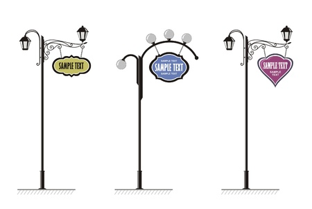 forging: wrought-iron street lamps with a sign for advertising, the vector