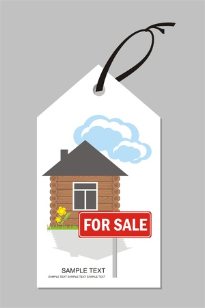 Label with wooden house with a sign for sale Stock Vector - 10084335
