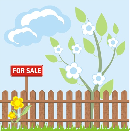hedge trees: Sale sign on a wooden fence in the garden, the vector Illustration