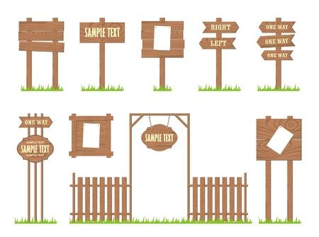 arrow wood: Conjunto de letreros de madera y flechas, vector