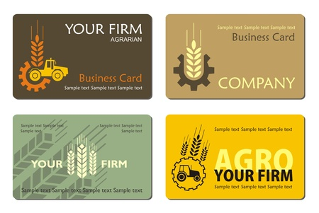 agro: Different agrarian business card, vector Illustration