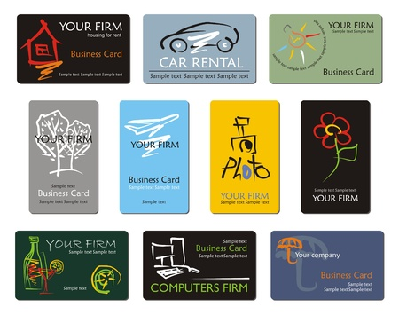 Different business card tepmlates, vector Vector