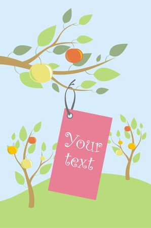 label hung on a rope to the apple tree, vector Illustration