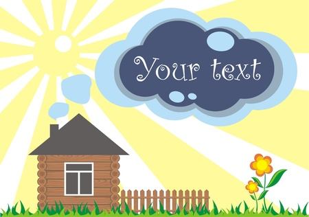 bubble to the text out of the tube at home on the lawn, vector