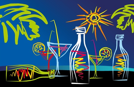 abstract drawing tropical cocktails on the beach, the vector