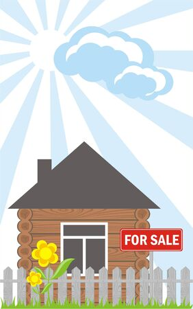 wooden house with a sign for sale Stock Vector - 10084341