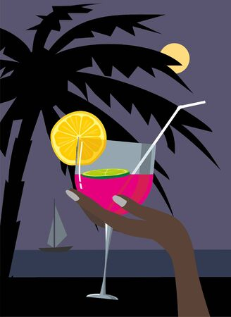 female hand holding a cocktail on the night beach Stock Vector - 10083985