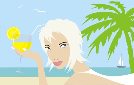 blondie: blondie with a cocktail on the beach  Illustration