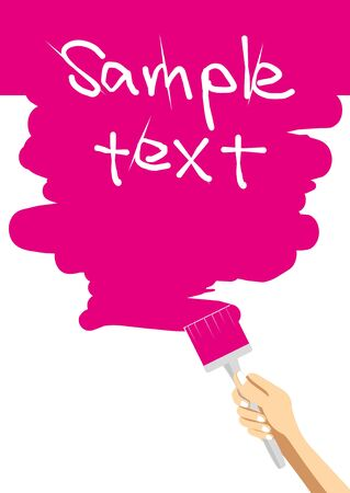 hand brush paints a pink background Illustration