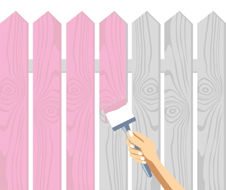 Hand with a brush paint a fence in the pink Illustration