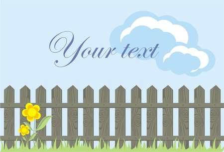 picket fence: wooden fence against a blue sky with clouds, the vector