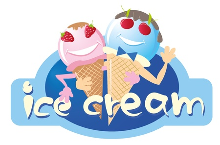 mixed family: two funny ice cream male and female, the vector Illustration