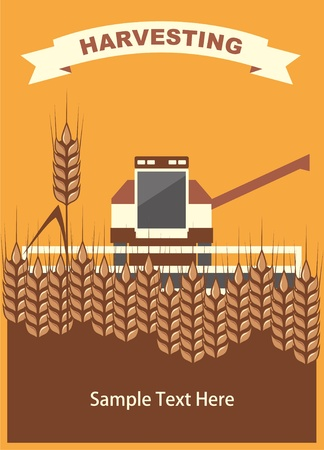 image harvester of cleaning wheat in the card with space for text, vector Vector