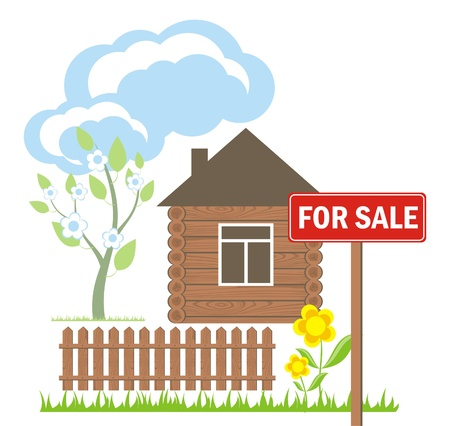 wooden house with a sign for sale