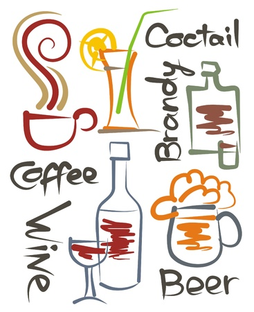 a set of stylized images of different beverages, the vector Illustration