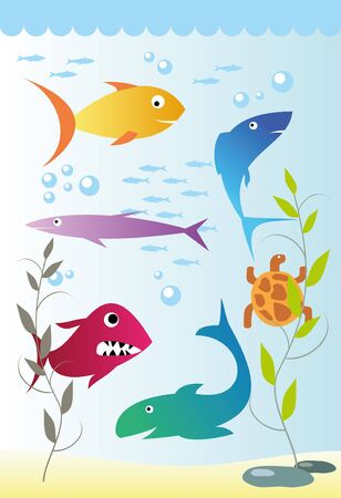 colorful fish under the water, vector Illustration