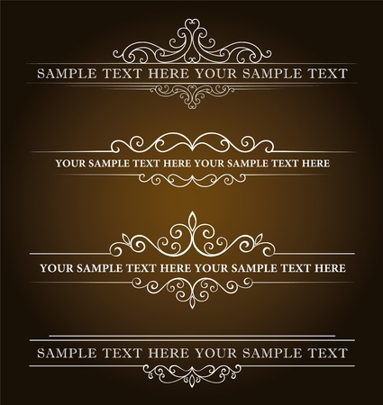 scroll border: Calligraphic old elements vintage decor, vector