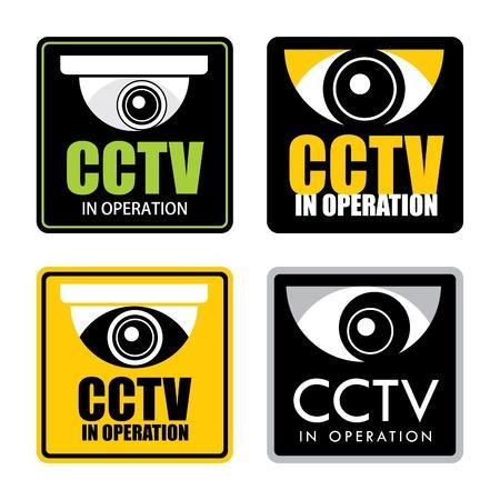 Set of surveillance CCTV signs, vector.