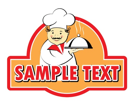 domed tray: The chef holds a tray with a dome on the advertising sign, vector