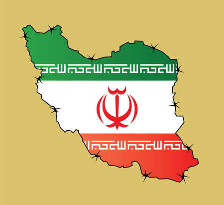 Map of Iran with flags inside enclosed by barbed wire Vector