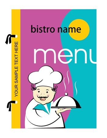vivid menu with the image of the cook, vector