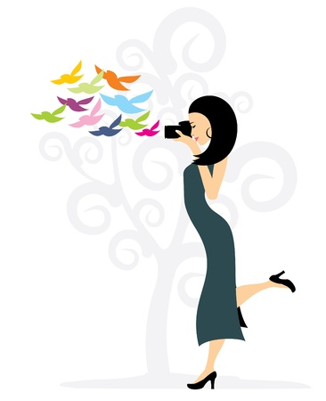 beautiful girl in a long dress with a camera, vector Stock Vector - 12379280