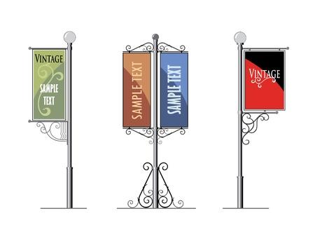 de hierro forjado lámparas de la calle con un cartel de publicidad, el vector
