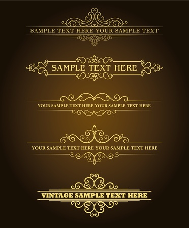 typographic: Calligraphic old elements vintage decor, vector