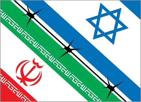 flags of Iran and Israel are separated by barbed wire