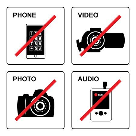 proibido: Set prohibited signs - gadget  Ilustração