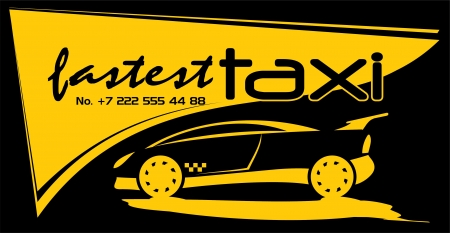 black cab: visiting card of taxi center, vector
