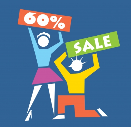 man and woman holding signs Stock Vector - 15915065