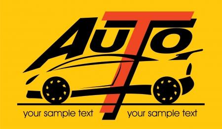 Silhouette des Sportwagens mit den Worten Illustration