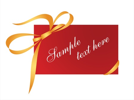 Red gift card with golden ribbon Stock Vector - 15915073