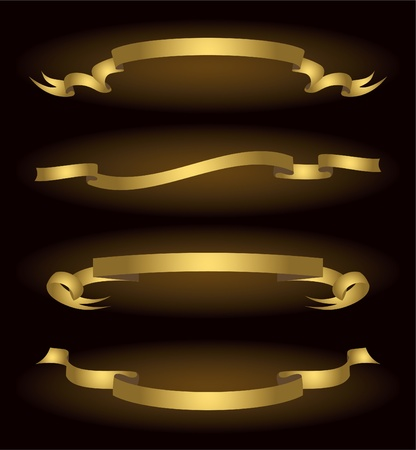 Set of bronze vector ribbons, vector