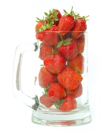 Strawberries in glass cup isolated on white    Stock Photo - 15915076