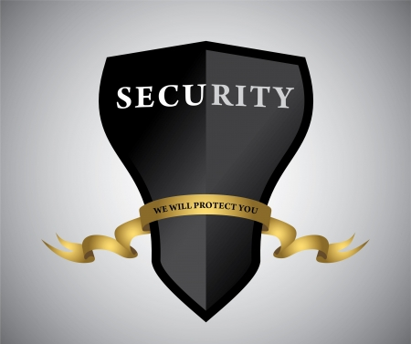 Black shield with golden ribbon.   Vector