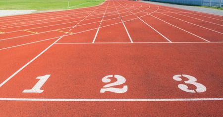 numbering: Red treadmill at the stadium with the numbering