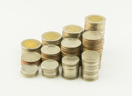 pennie: Coins Steps Thai Baht on white background