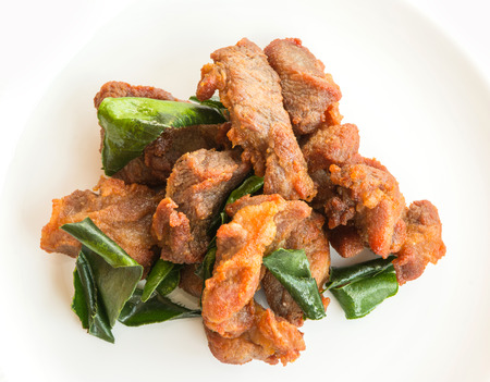 pijawka: Deep fried pork with leech lime leaf