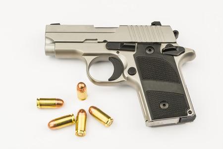 luger: .380 mmSemi-automatic handgun on white background