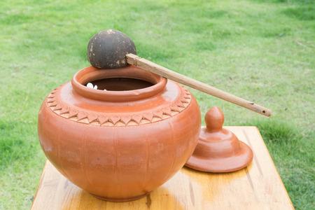 earthen: big water earthen jar in the garden Stock Photo